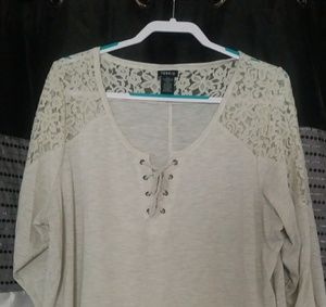 Lace shoulders and sleeves